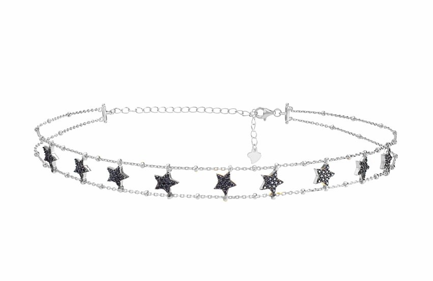 BLACK STAR CHOKER SILVER