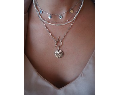 Thick Silver Coin Necklace