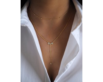 STAR LARIAT NECKLACE GOLD