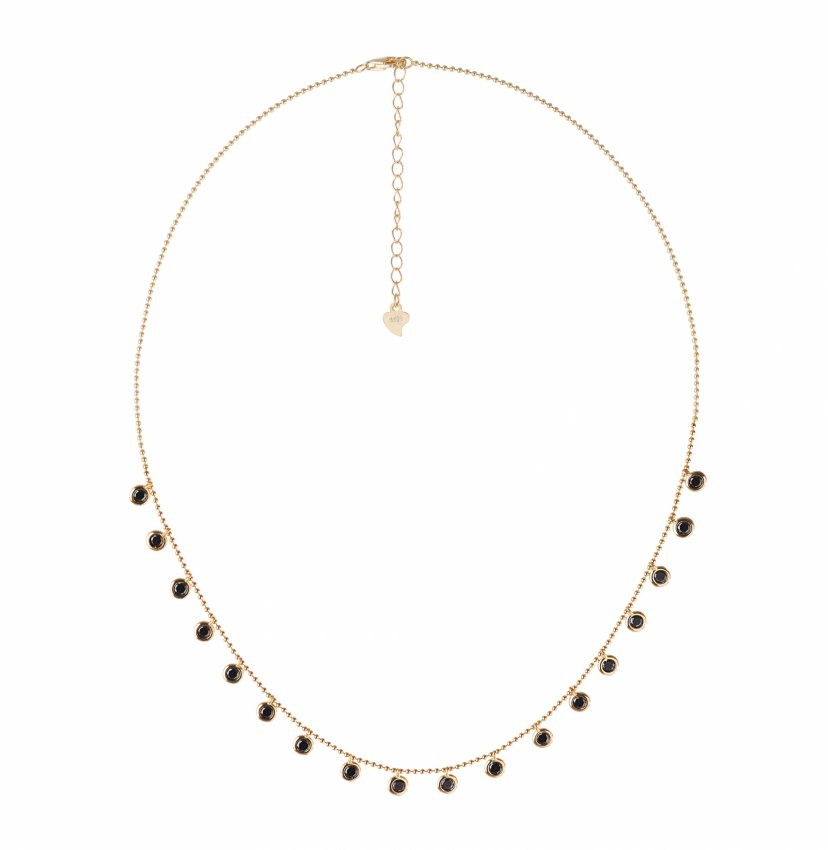 BLACK DROP NECKLACE IN GOLD