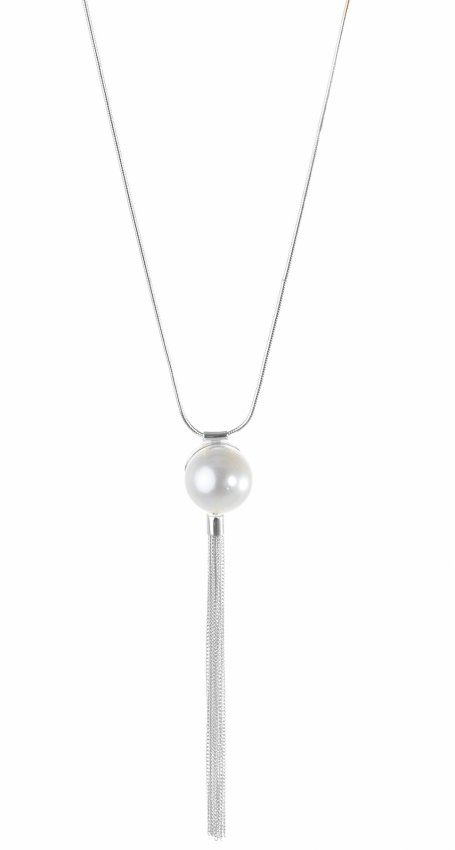 BOHO PEARL SILVER NECKLACE