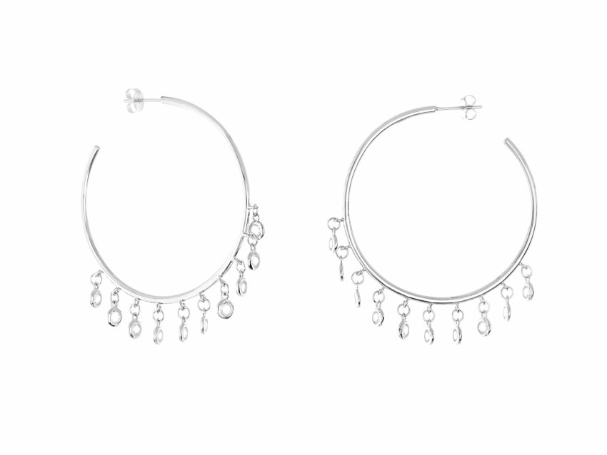 CRYSTL DROP HOOPS (SILVER)