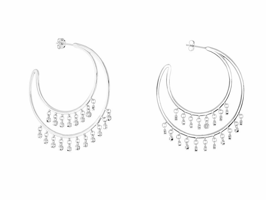 DOUBLE CRYSTAL HOOPS  (Silver)