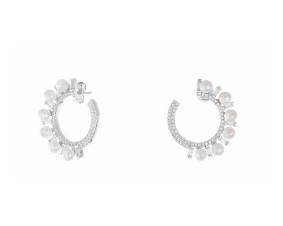 FANCY PEARL HOOPS SILVER