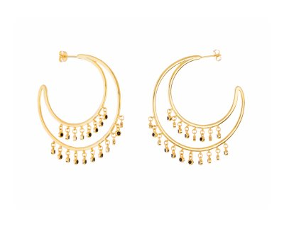 DOUBLE BLACK&GOLD HOOPS
