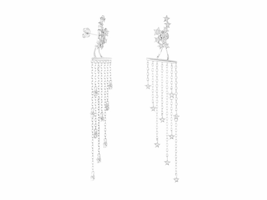 WATERFALL 2IN1 STAR EARRINGS SILVER